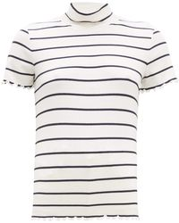 A.P.C. - Striped Roll Neck Rib Knitted Top - Lyst