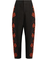Chloé - Floral-embroidered High-rise Linen Trousers - Lyst