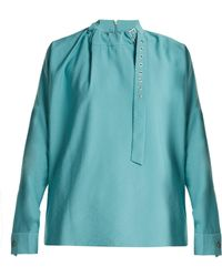 Tibi - Buckled Neck Twill Blouse - Lyst