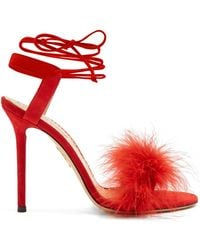 Charlotte Olympia - Salsa Feather-embellished Suede Sandals - Lyst