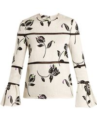 Huishan Zhang - Alison Floral-jacquard Bell-cuff Top - Lyst