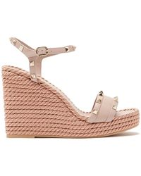 5e0f3cc97243 Valentino - Torchon Rockstud Leather Wedge Sandals - Lyst