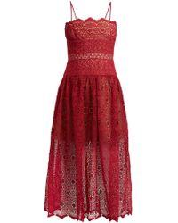 Self-Portrait - Floral-lace Dropped-waist Midi Dress - Lyst