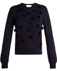 Comme des Garçons - Wool Pom Pom Appliqué Crew Neck Sweatshirt - Lyst