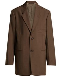 Lemaire - Single Breasted Wool Crepe Blazer - Lyst