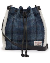 JW Anderson - Drawstring Shearling Trim Harris Tweed Bucket Bag - Lyst