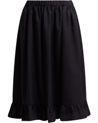 Comme des Garçons - Ruffle Hem Wool Midi Skirt - Lyst