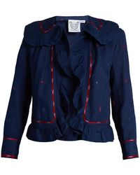 Thierry Colson - Rita Embroidered Ruffle-trimmed Cotton Jacket - Lyst