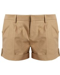 Saint Laurent - Mid-rise Pleated Twill Shorts - Lyst