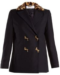 MUVEIL - Double-breasted Leopard-print Collar Woven Jacket - Lyst