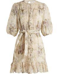 Zimmermann - Iris Floral Print Linen Dress - Lyst