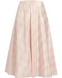 Valentino   Checked Silk-taffeta A-line Midi Skirt   Lyst