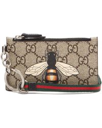 Gucci - Gg Supreme Printed Canvas And Leather Cardholder - Lyst