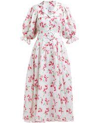 Gül Hürgel - Floral Print V Neck Linen Midi Dress - Lyst