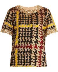 Ashish - Short Sleeved Houndstooth Sequin Embellished Top - Lyst