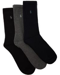 Polo Ralph Lauren - Set Of Three Logo-embroidered Socks - Lyst