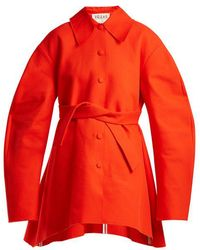 Awake - Raw-edge Tie-fastening Cotton Coat - Lyst