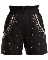 Isabel Marant - Esytis Stud-embellished Cotton Shorts - Lyst