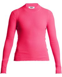 MSGM - Ribbed-knit Top - Lyst