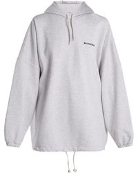 Balenciaga - Oversized Cotton Blend Hooded Sweatshirt - Lyst