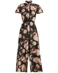 Erdem - Ellamay Dutch Petal Print Silk Jumpsuit - Lyst