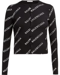 Balenciaga - Logo Print Ribbed Cardigan - Lyst