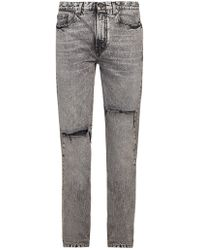 Saint Laurent - Distressed Straight-leg Jeans - Lyst