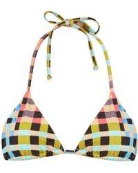 Mara Hoffman - Plaid Mustard-print Halterneck Bikini Top - Lyst