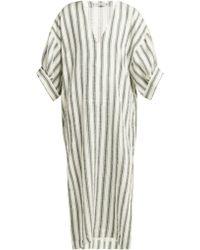 Three Graces London - Livietta Striped Linen Blend Kaftan - Lyst