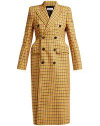 Balenciaga - Checked Wool Coat - Lyst