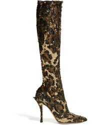 Dolce & Gabbana - Leopard Sequinned Knee High Boots - Lyst