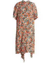 Marni - Poetry Flower-print Draped-hem Crepe Dress - Lyst