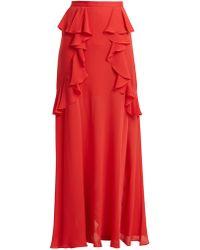 Elie Saab   Ruffle Silk-blend Skirt   Lyst