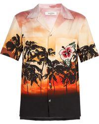 Valentino - Embellished Sunset Print Cotton Shirt - Lyst