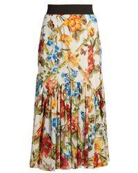 Dolce & Gabbana - Floral-print Midi Skirt - Lyst