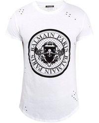 Balmain - Circular Logo-print Distressed Cotton T-shirt - Lyst