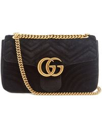 4a13421f2 Gucci Gg Marmont Mini Quilted-velvet Cross-body Bag in Pink - Lyst