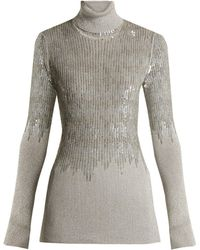 Missoni - Roll Neck Sequin Embellished Ribbed Knit Sweater - Lyst