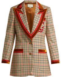 Gucci - Velvet-trim Houndstooth Wool-blend Blazer - Lyst