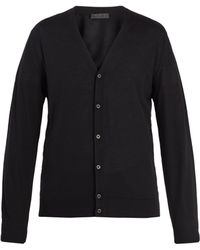 Prada - Long Sleeved Button Front Wool Cardigan - Lyst