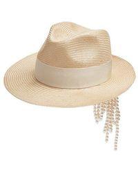 Federica Moretti - Gem Faux-pearl Embellished Straw Hat - Lyst