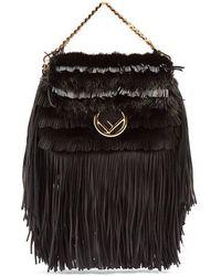 Fendi - Micro Baguette Mink-fur And Leather Cross-body Bag - Lyst