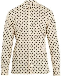 Burberry | Polka-dot Print Single-cuff Cotton Shirt | Lyst