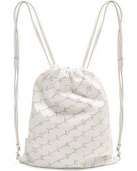 Stella McCartney - Logo Pattern Faux Leather Drawstring Backpack - Lyst