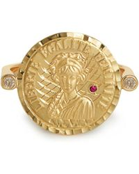 Anissa Kermiche - Louise D'or 18kt Gold Diamond And Ruby Ring - Lyst