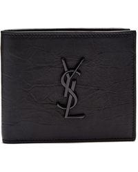 Saint Laurent | Monogram Crocodile-effect Bi-fold Leather Wallet | Lyst
