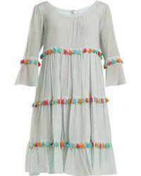 Athena Procopiou - Spring Rainbow Tassel Trimmed Tiered Silk Dress - Lyst 0fd51079e