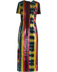 Diane von Furstenberg - Striped Sequin-embellished Midi Dress - Lyst