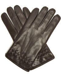 Bottega Veneta - Gants en cuir à finition intrecciato - Lyst