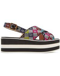 Gucci | Peggy Logo-jacquard Flatform Slides | Lyst